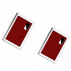Stealodeal Red Luxury Stainless Steel Card Holder (Pack of 2)