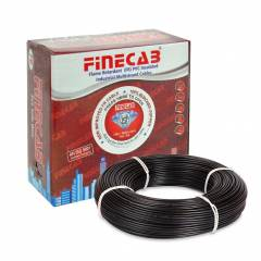 Finecab 1.5 Sq mm Black PVC Insulated Single Core FR Wire, Length: 90 m