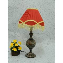 Tucasa Classic Brass Carving Table Lamp with Red Lacy Shade , LG-971