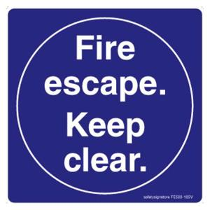 Safety Sign Store Fire Escape, Keep Clear Sign Board, FE503-105PC-01, (Pack of 5)