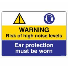 Safety Sign Store Warning: Noise Hazard, Ear Protection must be Worn Sign Board, CW427-A2AL-01