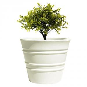Fox B 15 Inch Round White German Polymer Planter, BR 1518-W