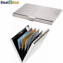 Stealodeal Stainless Steel Pocket Business Credit/Debit & Metal Card Holder Set