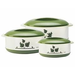Milton Orchid 3 Pieces Green Casserole Set, M1001-MOC-GR