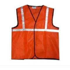 Men Safe Orange Safety Jacket, Tape Size: 1 inch (Pack of 5)