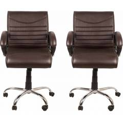 Mezonite Medium Back Leatherette Brown Office Executive Chair (Pack of 2)