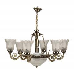 Glow Fixtures White & Brown Antique Hexa Glass Chandelier, JF563GFL-REG