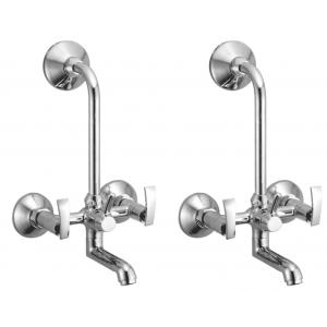 Snowbell Soft Brass Chrome Plated 2-in-1 Wall Mixers (Pack of 2)