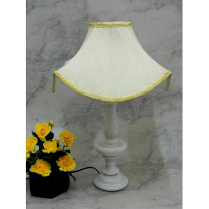 Tucasa Elegant White Marble Table Lamp with Off White Shade, LG-800