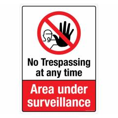Safety Sign Store No Trespassing at Any Time Sign Board, PS318-A4V-01