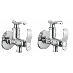 Apree Devos Silver Brass 2 in 1 Angle Faucet (Pack of 2)