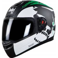 Steelbird SBA-1 Beast Matt Black Green Helmet, Size (Large, 600mm)