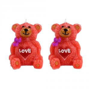 Dizionzrio VH45 Red Wax Colorful Sitting Teddy Shaped Candle (Pack of 2)