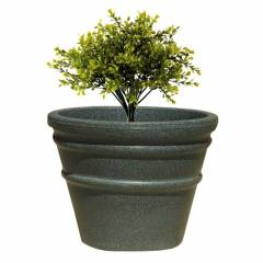 Fox B 15 Inch Round Grey German Polymer Planter, BR 1518-G