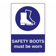 Safety Sign Store Safety Boots must be Worn Sign Board, SS507-A3PC-01