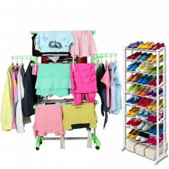 Kawachi C84 Combo of Cloth Drying Stand & Shoe Rack