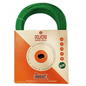 Polycab 0.75sqmm Single Core 90m PVC Insulated FRLF Unsheathed Green Industrial Cable