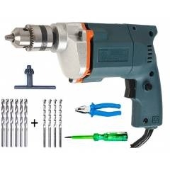 Tiger TGP10 10mm Electric Drill Machine with 6 HSS Bits, 4 Masonry Bits, 1 Plier & 1 Line Tester