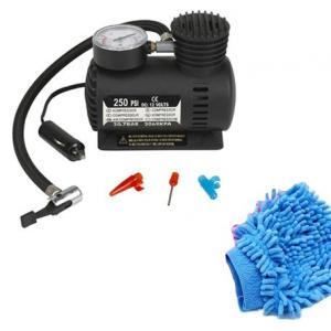 Cartronics 12V Electric Car / Bike Tyre Inflator Set with 1 Cleaning Microfiber Glove