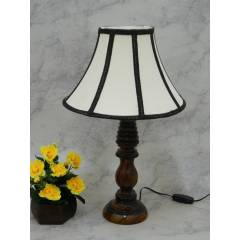 Tucasa Wooden Table Lamp with Stripe Shade, LG-837