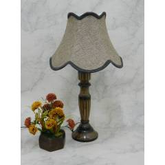 Tucasa Unique Wooden Table Lamp with Brown Jute Shade, LG-827