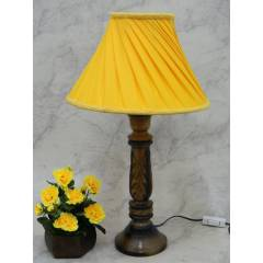 Tucasa Wooden Carving Table Lamp with Yellow Pleated Shade, LG-832