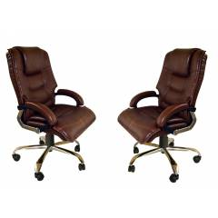 Mezonite High Back Cushioned Leatherette Brown Office Executive Chair (Pack of 2)