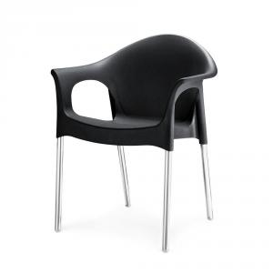 Nilkamal Novella 09 Iron Black Virgin Polymer Cafeteria Chair, NS09SSIBK, Dimension: 600x540x782 mm
