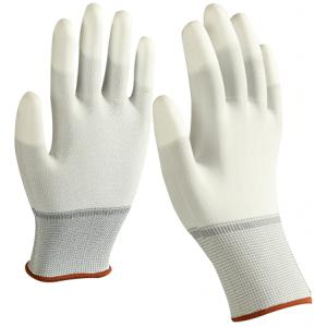 Generic PU Coated White Hand Glove with nylon shell, Size: L