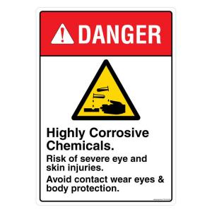Safety Sign Store Danger: High Corrosive Chemical Sign Board, FE109-A3PC-01