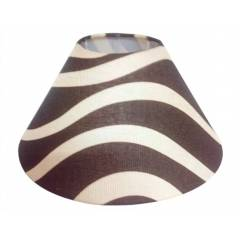 Aadhya Creations AC Tapered Brown Lamp, Off White Stripes Shade, AC13LS035
