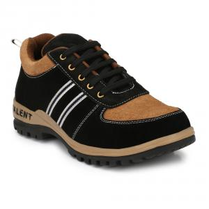 Kavacha S42 Black & Brown Leather Steel Toe Safety Shoes, Size: 8