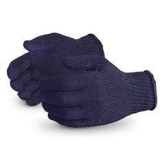 Hansafe Knitted Cotton Hand Gloves, Blue (Pack of 10)