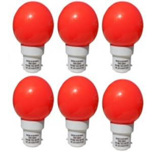 HB Technology 0.5W B-22 Red LED Bulbs, (Pack of 6)