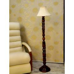 Tucasa Twisted Wooden Floor Lamp with Off White Pleated Shade, LG-874