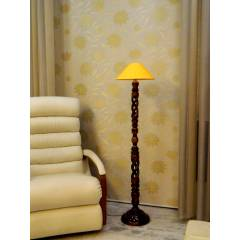 Tucasa Twisted Wooden Floor Lamp with Yellow Conical Shade, LG-878
