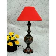 Tucasa Antique Brass Carving Table Lamp with Red Conical Shade, LG-859