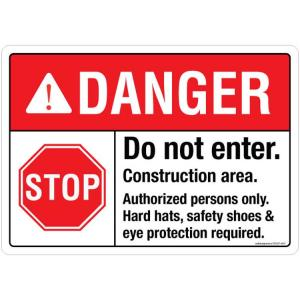Safety Sign Store Danger: Do Not Enter, Construction Area Sign Board, SS247-A4PC-01