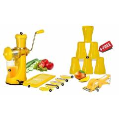 SM Elegant Combo, Yellow Hand Juicer & Slicer Peeler with 6 Free Glass