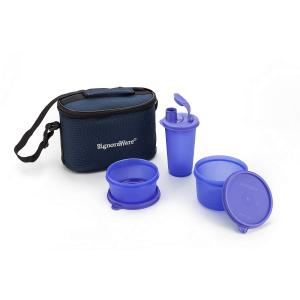 Signoraware Violet 1130 ml Trio Lunch Box with Bag, 525