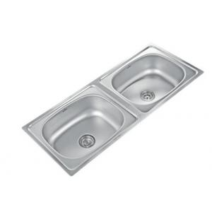 Neelkanth NK-DB4L Linen Double Bowl Stainless Steel Sink