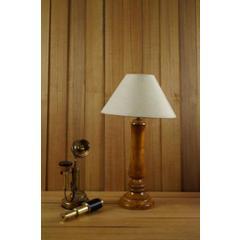 Tucasa Mango Wood Tan Table Lamp with 10 inch Polycotton Khadi Pyramid Shade, WL-207