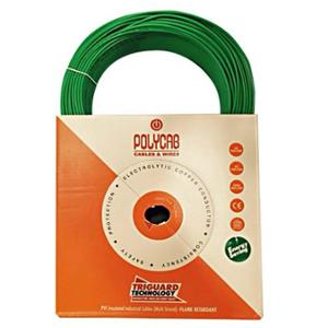 Polycab 0.75 Sqmm 300m Green Single Core HFFR Multistrand PVC Insulated Unsheathed Industrial Cable
