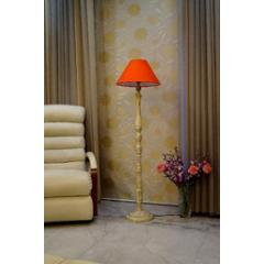 Tucasa White Mango Wood Floor Lamp with Orange Conical Polycotton Shade, WF-148
