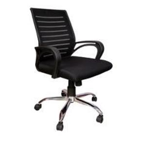 Saroj Boom Low Back Mesh & Chrome Base Leatherette Black Office Chair, SE 031