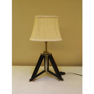 Tucasa Mango Wood Black Tripod Table Lamp with Polycotton Off White Shade, P-37