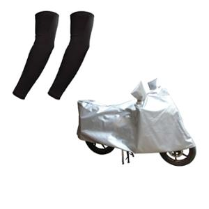 HMS Silver Scooty Body Cover for Yamaha Ray Z with Free Size Nylon Black Arm Sleeves