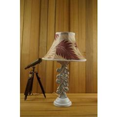 Tucasa Mango Wood Antique White Carving Table Lamp with 12 inch Polysilk Maroon Beige Conical Shade, WL-27
