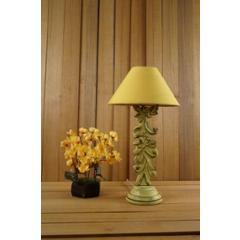 Tucasa Mango Wood Crushed Yellow Carving Table Lamp with 10 inch Polycotton Yellow Pyramid Shade, WL-61