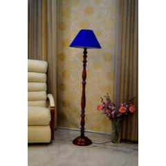 Tucasa Royal Brown Mango Wood Floor Lamp with Blue Conical Polycotton Shade, WF-97